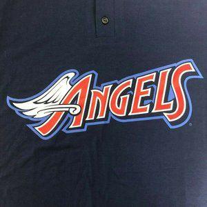 Vintage Majestic Angels Button T Shirt Blue Mens S